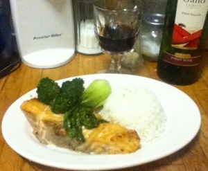salmon steak with brown sugar honey glaze with rice