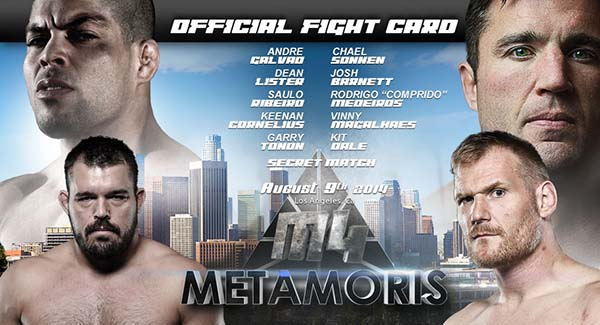 M4 METAMORIS 4 FIGHT CARD AUGUST 9 2014